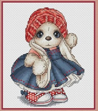 Needlework  14CT 16CT Cross Stitch, DIY Count Embroidery Set, Blue skirt rabbit