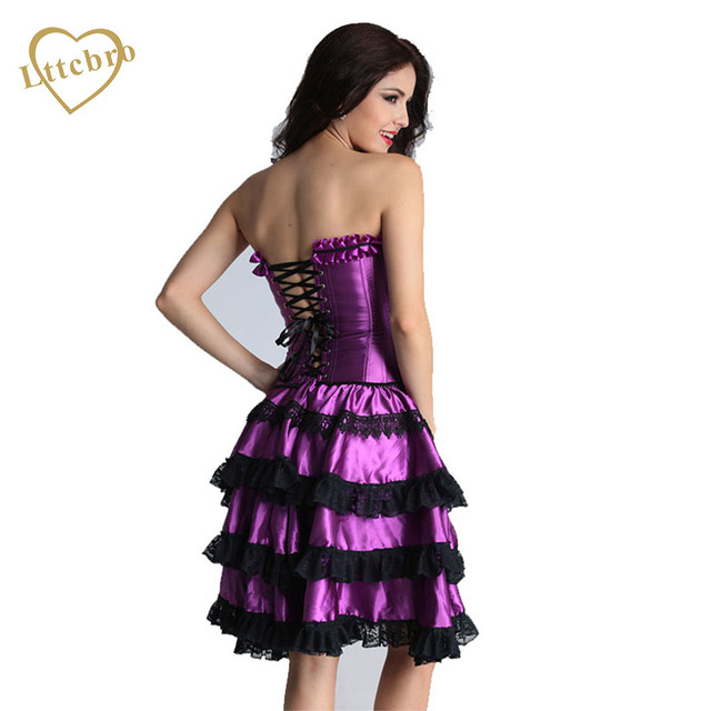 e6c541e67ee Corset Dress Prom Sexy Plus Size Corsets and Bustiers Lace Up Corset Purple  Set Women s Corset Bustiers with Tutu Skirt