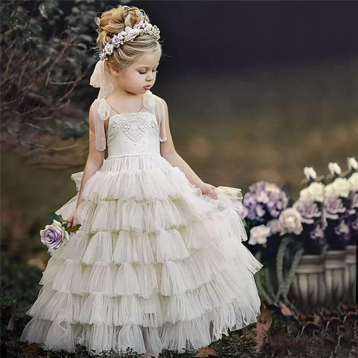 New Customized Ruffles Flower Girl Dresses For Weddings 2018 A Line Little Girls Gowns Lace Pearls Beading Communion Gown