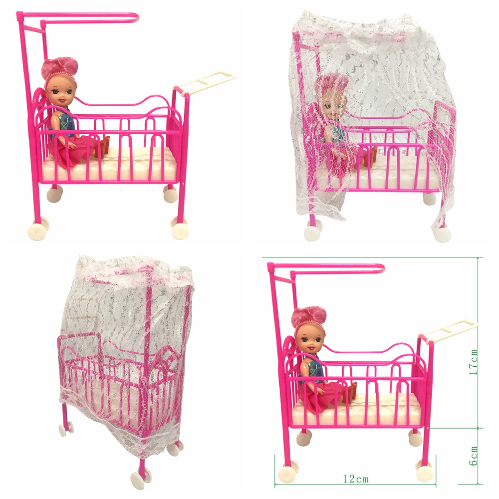 NK One Set Doll Accessories Baby Bed Super Cute Bed For Small Kelly Dolls For Barbie Dolls