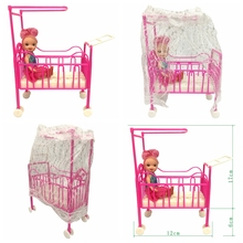 NK One Set Doll Accessories Baby Bed Super Cute Bed For Small Kelly Dolls For Barbie