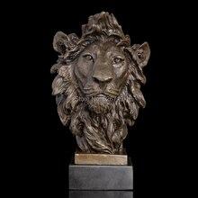 Best Supplier 100% Bronze Lions Head sculptures animal bust lion head statue Signed by Barye metal brass statue