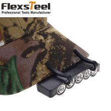 Flexsteel 5 Ultra Bright Leds Camping Fishing Head Lamp Hat Cap Light with Hardness Clip 100% Brand New