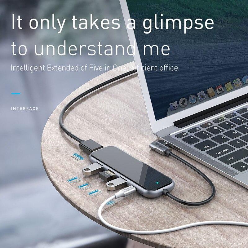 Image 4 - Baseus USB C Тип C концентратор HDMI RJ45 Мульти USB 3,0 адаптер  для MacBook Pro Air док станция USB C концентратор с Беспроводной  Зарядное устройство для наручных часов iWatch-in USB-хабы from  Компьютеры и офисная техника on AliExpress