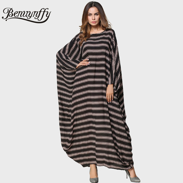 88e8ca6aa2bf Benuynffy Oversized Long Sleeve Kaftan Dress Autumn Winter Ladies Plus Size  Striped O-Neck Batwing
