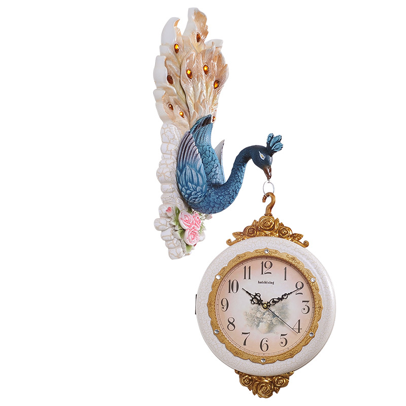 European Style Peafowl Ultra-quiet Clocks Silent Retro Wedding Home Decorations Peacock Rich Vintage Wall Clocks