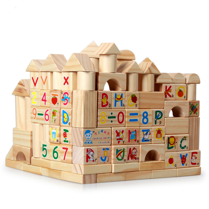100 Pieces Wooden Building Blocks Children Intelligence Educational Toy Family Game Essentials Kids Birthday Christmas Gifts cute falling tumbling monkeys blocks toy board game kids balancing training toys parenting family game blocks toy