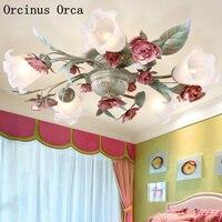 Mediterranean pink flower and grass ceiling lamp living room dining room bedroom Korean idyllic romantic iron rose ceiling lamp