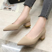 European style 2019 women pointed single shoes female thick with French fashion pumps comfortable professional womens shoes new