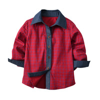 2 7 Years Boys Blouse Spring Summer Children Clothing Cotton Patchwork Blue Red Boys Shirts Fashion