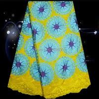(5 yards/lot) PC23-8, sarı + mavi + mor! 100% pamuk Afrika işlemeli dantel kumaş, elbise için güzel renkli İsviçreli vual dantel!