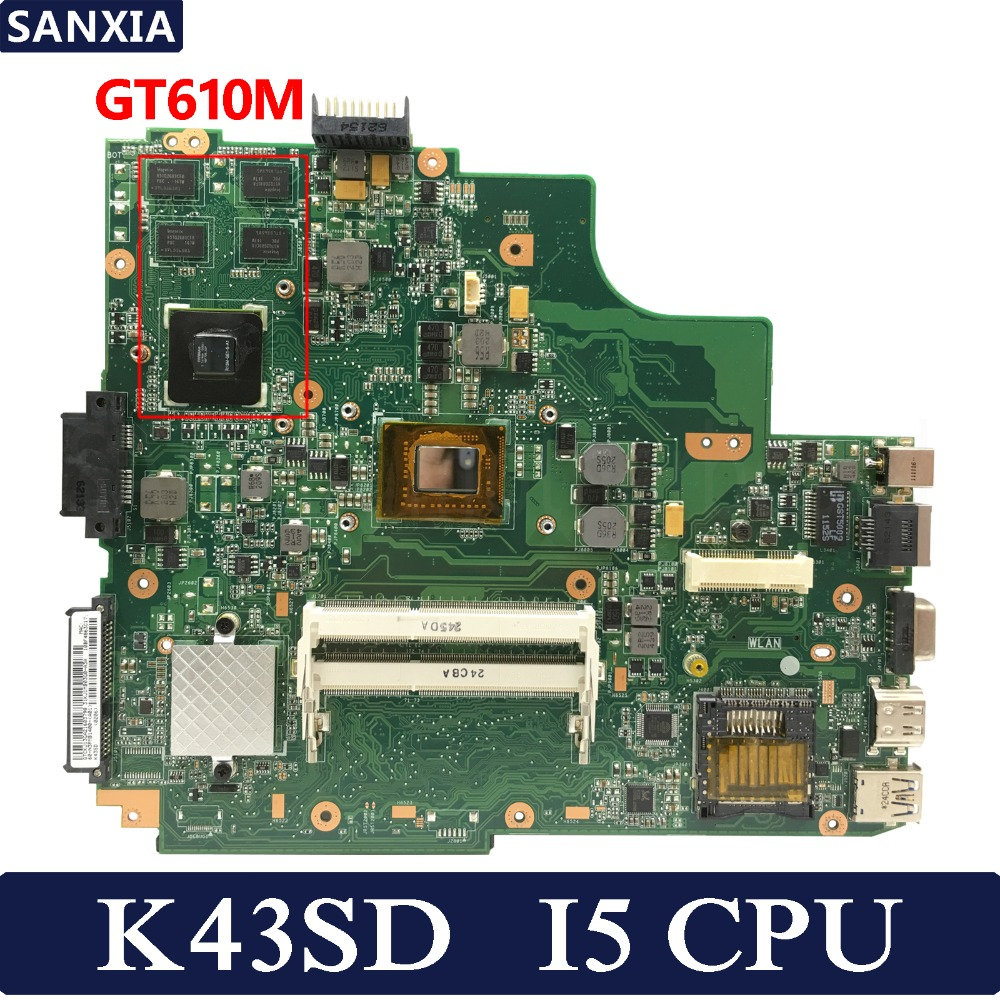 KEFU K43SD Laptop Motherboard For ASUS K43SD K43S K43E A43E K43 Test Original Mainboard I5 CPU GT610M REV5.0