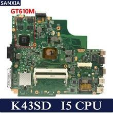 цена на KEFU K43SD Laptop motherboard for ASUS K43SD K43S K43E A43E K43 Test original mainboard I5 CPU GT610M REV5.0
