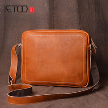 AETOO Men's first layer of leather shoulder bag retro tannery messenger bag handmade original simple leisure mad horse leather