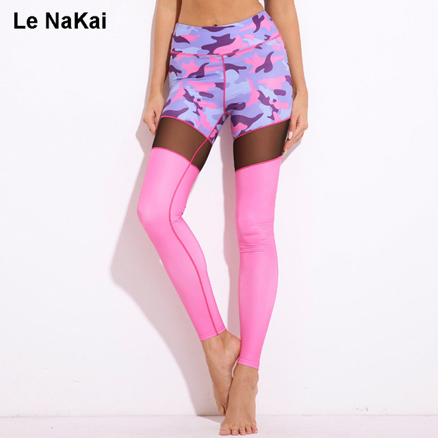 New Camouflage Print Mesh Yoga Leggings Pink Contrast Color Push Up Gym S High Waist Elastic