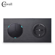 Coswall Black Aluminum Metal Panel 16A EU Standard Wall Power Socket + 3 Gang 1 Way On / Off Light Switch LED Indicator
