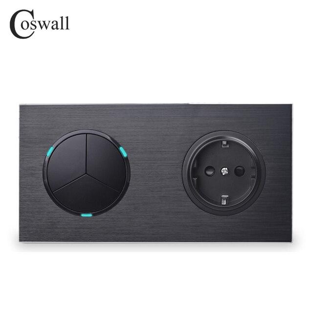 Coswall Schwarz Aluminium Metall Panel 16A EU Standard Wand Steckdose + 3 Gang 1 Weg Auf/Off Licht schalter Led anzeige