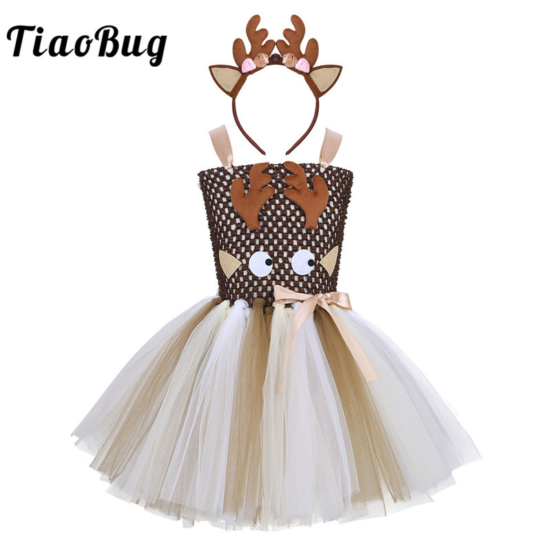 TiaoBug New Kids Girls Adjustable Straps Cartoon Elk Applique Mesh Tutu Dress with Hair Hoop Cosplay Party Christmas Costume Set