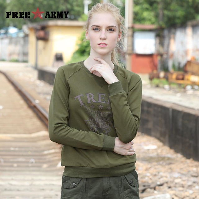 Autumn Fashion Hoodies Women Clothing Long Sleeve O Neck Solid Color Sweatshirts Woman Army Green