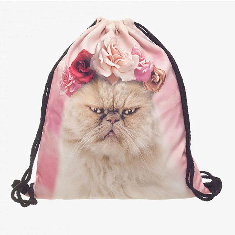 Cute Cat Printed Small Drawstring Bags Women Casual Cartoon Package Women Sport Fitness Drawstring Backpacks Canvas Bags