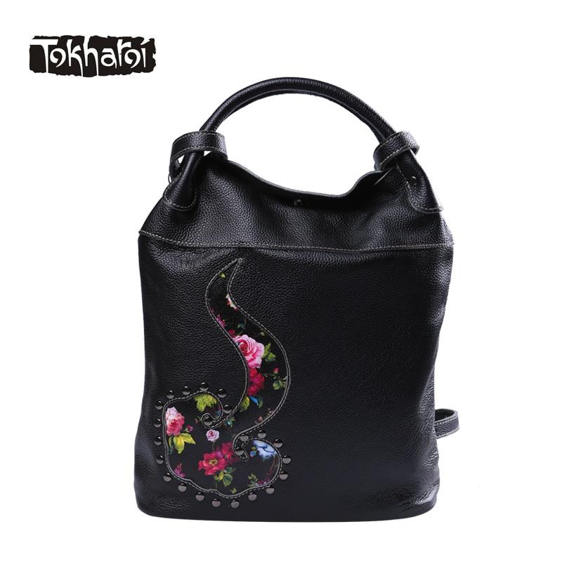 Tokharoi Genuine Leather Bag Ladies National Design Embroidery Flowers Bucket Handbag Vintage Hasp Crossbody Bags for Women 2017
