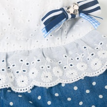 Graceful blue and white bowknot puppy dress