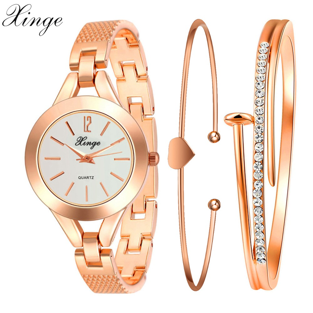 Xinge Brand Casual Watches Women Luxury Gold Crystal Bracelet Wristwatch Set Women Ladies Dress Casual Electronic Quartz Watch xinge brand luxury crystal quartz watch women bracelet rhinestone jewelry watch set wristwatch waterproof women dress watches