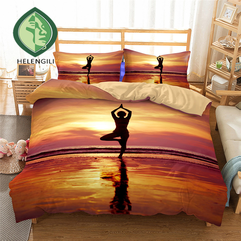 HELENGILI 3D Bedding Set Heart Yoga Print Duvet cover set lifelike bedclothes with pillowcase bed set home Textiles #2-03HELENGILI 3D Bedding Set Heart Yoga Print Duvet cover set lifelike bedclothes with pillowcase bed set home Textiles #2-03