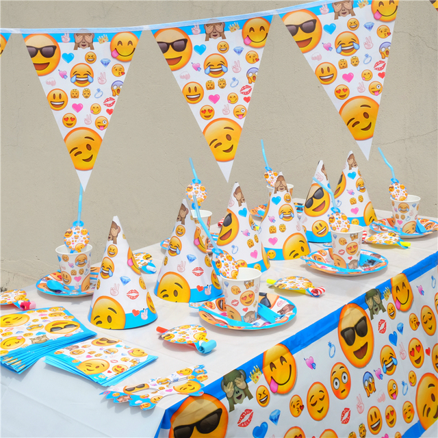 Emoji Smile Cry Kids Birthday Party Decoration Set Party Supplies ...