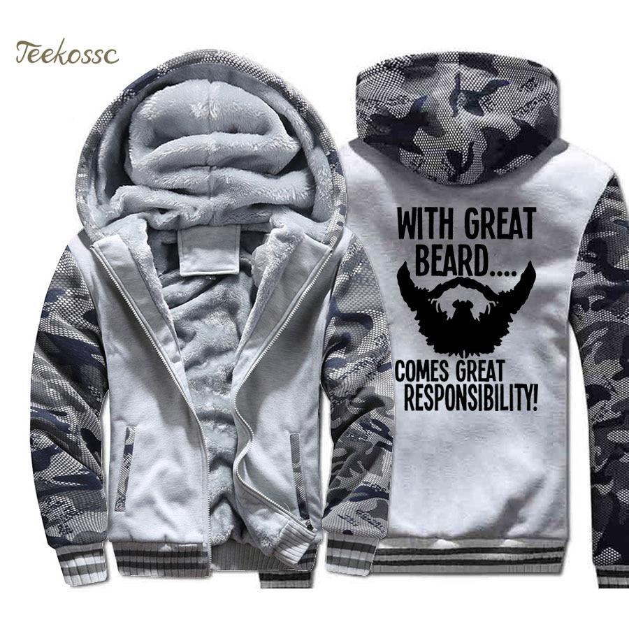 With Great Beard Comes Great Responsibility Jacket Men Spider-Man Super Hero Sweatshirt Coat Thick Fleece Warm Camouflage Hoodie