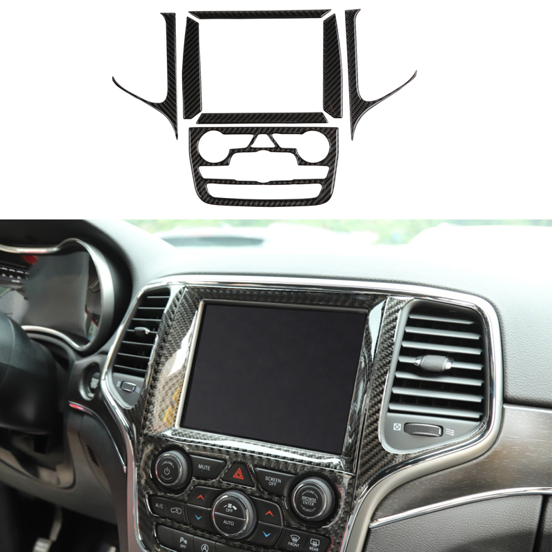 Center Console Control Panel Cover for Jeep Grand Cherokee 2014 Carbon Fiber Decorative Stickers Car Interior Accessories image