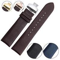 EACHE חלק אבזם פרפר רצועת השעון עור עגל אמיתי שעון עור אמיתי באיכות גבוהה רצועות 18 מ