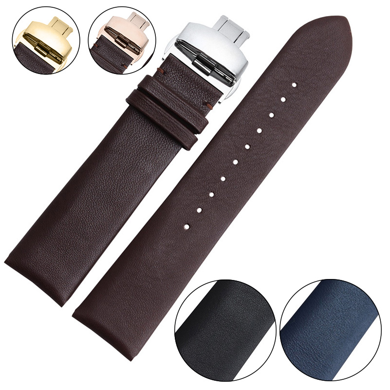 Smooth Genuine Calf Leather Watchband Butterfly Buckle  High Quality Genuine Leather Watch Straps 18mm 20mm 22mm double buckle cross straps mid calf boots