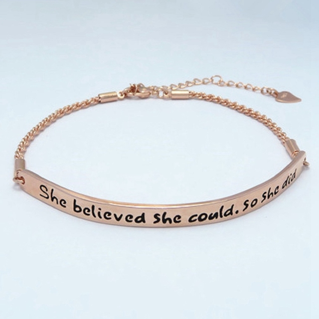 She Believed Could So Did Bracelets Simple Round Message Reminder Bangles Twisted Inspiring Metal