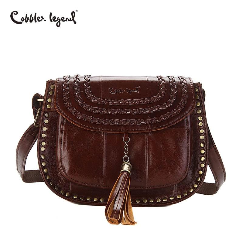 Cobbler Legend Tassel Women Messenger Bags Genuine Leather Women Designer Lady Handbags Small Bag Female Shoulder CrossBody Bag