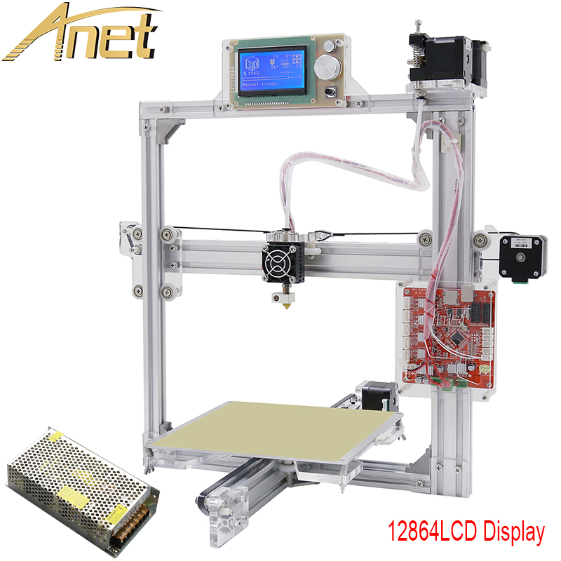 Anet A2 Silver Color auto leveling 3d metal printer 3D Printer Kit DIY Easy Assemble With Free 10m Filaments 8GB SD card LCD