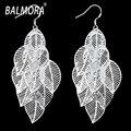 Hollow leafs silver plated Moda aretes grandes pendientes de Gota cristalinos de la Joyería de moda pendientes de las mujeres Envío gratis bijouterie