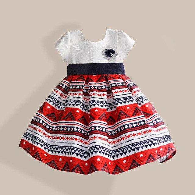 Чешский стиль девушки платье абстрактный полосатый синий пояс с район 100% хлопок девушка ну вечеринку vestidos infantis 3 - 8 т