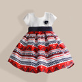 Bohemian Style Girls Dress Abstract Striped Navy Blue Belt with Rayon Bow 100% Cotton Girl Party Dresses vestidos infantis 3-8T