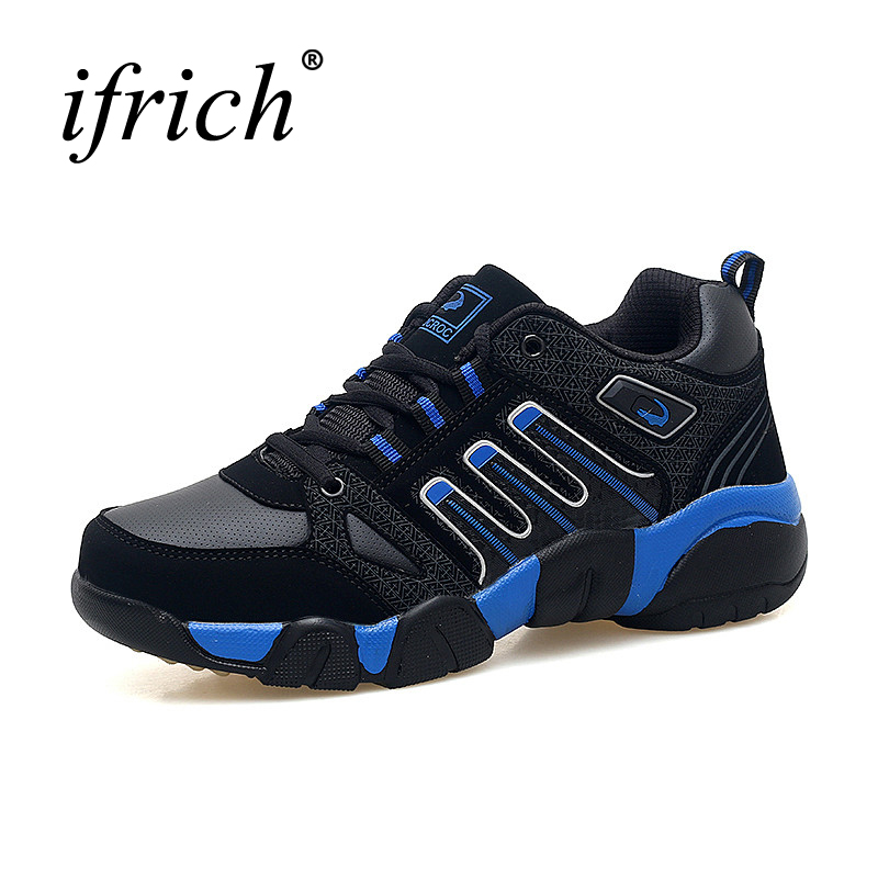 Ifrich Spring Autumn Men Sneakers Leather Men Sport Trainers Big Size Sneakers Black Running Walking Shoes Mens Athletic Sneaker