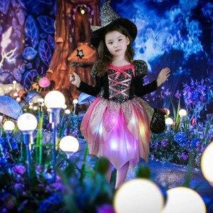 Image 2 - ילדי בנות LED אור מכשפה קוספליי תלבושות ילדים שלב ביצועי ליל כל הקדושים Masquerade מפלגה זוהרת שמלת פסטיבל פורים