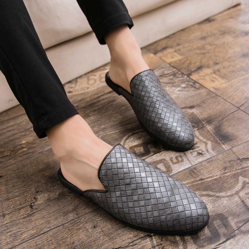 390005d53721 ... Men Sandals 2018 New summer half slippers men shoes PU Leather beach  sandals causal lazy slip ...
