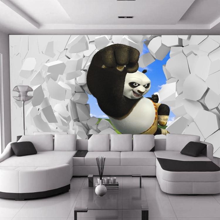 Custom 3D stereoscopic large mural Kung Fu Panda boys girls children's room bedroom wall paper background wallpaper living room silver s kung fu panda 3 level 3 cd