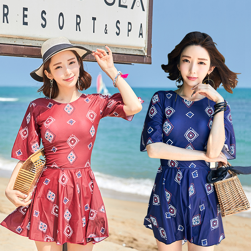 Blue red print 2018 new Sexy Short sleeve Skirt one Piece swimsuit High Neck Push Up swimwear beach spa women bathing suits