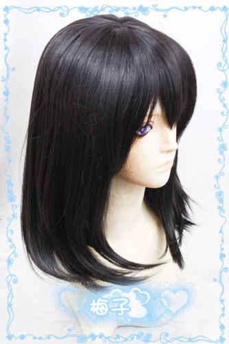 Frappez le sang Himeragi Yukina 50 cm perruque de mode Cosplay noir