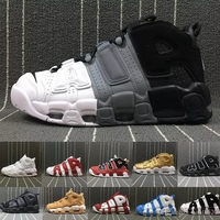High Quality More Uptempo 96 QS Olympic Tri Color UNC Air White Men Basketball Shoes Cheap 3M Mens Scottie Pippen shoes Sneakers
