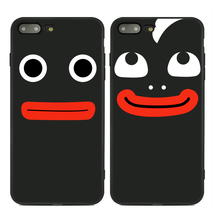 Soft Phone Case For IPhone 6 6S 6 Plus 6S Plus 7 7 Plus Facial Expression Series Smiley Face Painted Black Back Phone Cover