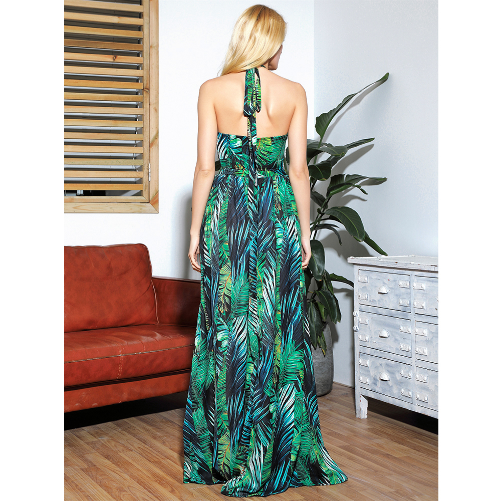 LOVE&LEMONADE Sexy Cut Out Cross Straps Open Black Leaf Print Beach Maxi Dress LM81811