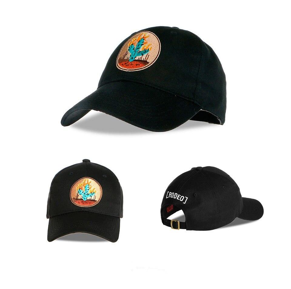 Neue Marke Neue Kaktus Bestickte Baseballkappe Schwarz 6 Panel Angeln Hüte Travis Scotts rodeo Kappe Schwarz Hysteresenhüte