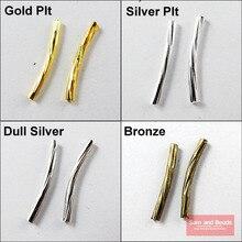 120 шт, Полоска, изогнутая труба 20 мм, золото, серебро, бронза, тускло покрытый серебром, бронзой, для изготовления ювелирных изделий, рукоделия